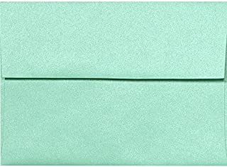 LUXPaper A7 Invitation Envelopes for 5 x 7 Cards in 80 lb. Lagoon Metallic, Printable Envelopes for Invitations, 50 Pack, Envelope Size 5 1/4 x 7 1/4 (Green)