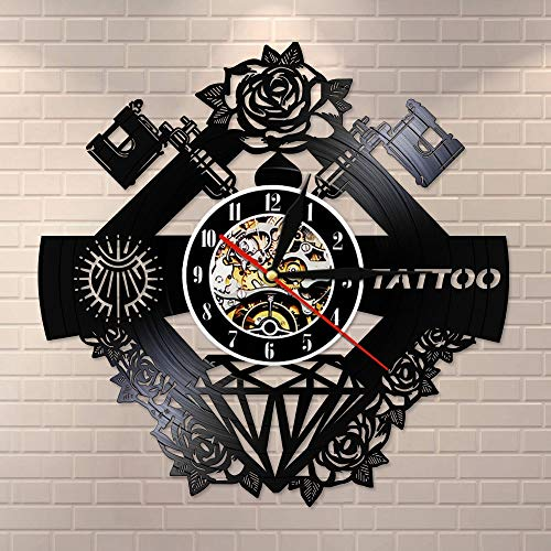 DJDLNK Tattoo Studio Silent Wall Clcok Tattoo Shop machine decoratie muur geschenk voor mannen Met LED