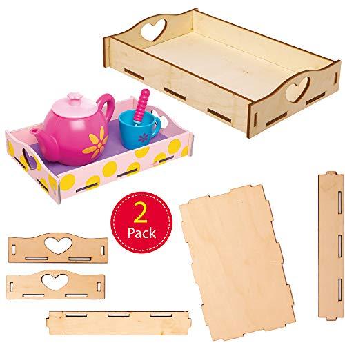Baker Ross houten schalen knutselsets - knutselset voor kinderen (2 stuks)