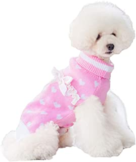 kyeese Dog Sweater with Leash Hole Turtleneck Dog Sweaters Heavy Knitwear Warm Pet Sweater for Fall Winter