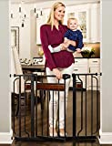 wood baby gate extra wide - Regalo Home Accents Extra Wide Walk Thru Baby Gate, Includes Décor Hardwood, 4-Inch Extension Kit, 4-Inch Extension Kit, 4 Pack of Pressure Mount Kit and 4 Pack of Wall Cups and Mounting Kit