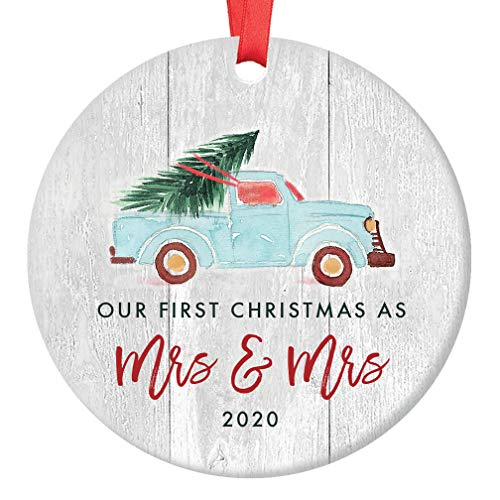 Lesbian Couple First Christmas 2020 Ornament 1st Holiday Mrs & Mrs Gay Newlywed Wedding Gift Idea Cute Retro Blue Truck Ceramic Vintage Farmhouse Keepsake 3' Flat Porcelain with Red Ribbon & Free Box