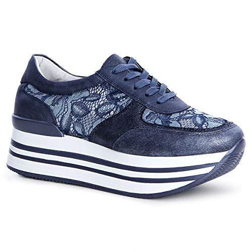 topschuhe24 Mujer Zapatillas de Plataforma Derby Sneaker, Número de Zapato:38 EU, Color:Azul