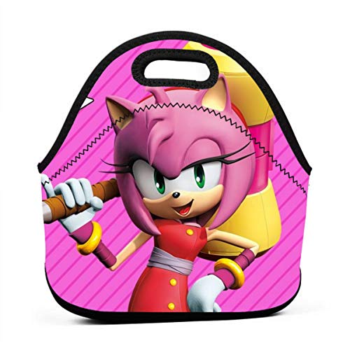 JamesAFlannigan Sonic Boom-Amy Rose Anime Tote Lunch Box Lunch Bag Reusable Lunch Box Outdoor Travel School Picnic
