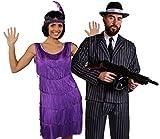 Déguisement accessoires pour couple de gangster adulte + robe violette Charleston XXL, bandeau, collier de fausses perles + costume à rayures XXL, mitrailleuse gonflable, chapeau