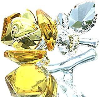 Waltz&F Crystal Rose Flower,Glass Rose Paperweight Figurine Collectible Statue Wedding Table Centerpiece Ornament,Yellow Rose