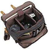 Camera Bag Vintage Canvas Shoulder Shockproof Messenger Bag­ SLR/DSLR (Brown)