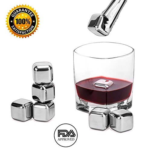 wuudi Whiskey Stones Stainless Steel Reusable Wine Cooling Cubes with Ice Tongs, Whiskey Chilling Rocks, Whisky Ice Stones (8 Pieces)