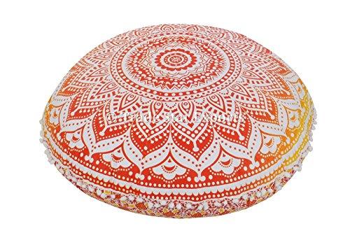 Große Boden Kissen, Ombre Mandala Werfen, dekorative Kissenbezüge 81,3 cm Indischen Runde Poufs, Boho ottomanes, Roundie Kissenbezug extérieur, POM POM kissenrollen