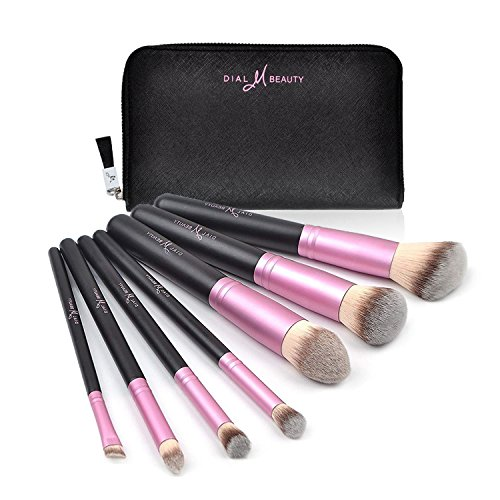 Dial M Beauty Makeup Brushes Set 8pcs Synthetic Foundation Blending Powder Blush Travel Bag