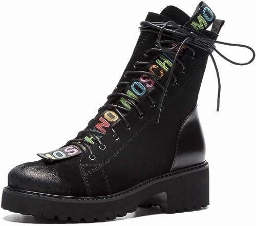 MISS&YG Femmes Cuir Martin Bottes Couche Bracelet en Cuir Tête Ronde Amour Chaussures Femmes Chaussons
