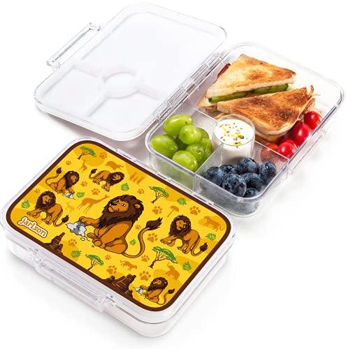 JARLSON® Brotdose für Kinder mit 4 Fächern - TÜV geprüft - Lunchbox aus Tritan - Bento Box auslaufsicher – Jausenbox für Kindergarten und Schule - Mädchen und Jungen - 850ml (Löwe)