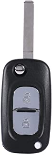 Terisass 2 Buttons Car Keyless Entry Remote Control Flip Folding Key Case Shell with Key Embryo Replacement Auto Key Fob Shell Case for Renault Clio Megane Kangoo Modus Black