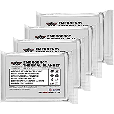 EVERLIT Emergency Blanket, Thermal Blanket, Space Blanket, Survival Blanket -Mylar Blanket Designed NASA| Perfect for Outdoor, Hiking, Survival, Emergency Camping, First Aid Kit