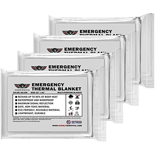 EVERLIT Emergency Mylar Thermal Blanket (4 Pack) Space Blankets for First Aid Kit Camping Kit Hiking Outdoor