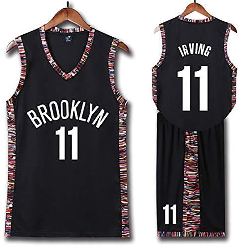 QYXDD Herren Basketball Trikots Kinder Basketball Uniform Kyrie Irving11# für Brooklyn Nets Fans Wahl weiche und Bequeme Sommerweste Shorts Set-DieStadt black-6XL