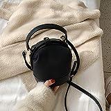 Mdsfe Vintage Fashion Female Tote Bucket Bag 2019 Nueva Calidad de Cuero Mate Diseñador de Mujer Bolso de Viaje Bolsa de Mensajero de Hombro-Negro, 14 X 14 X 16 CM