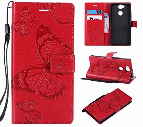 Laybomo Funda para Sony Xperia XA2 Carcasa Bolsa Tapa Cuero Billetera Magnética Protector Silicona Suave TPU Flip Cover Funda para Sony XA2 Avec Fente pour Carte, Mariposas (Rojo)