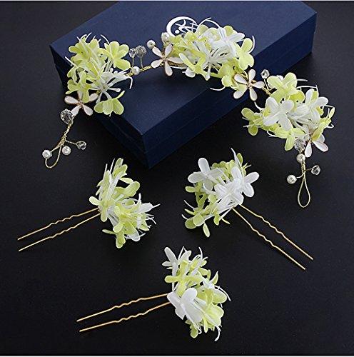 &Crown bloem hoofdtooi Koreaanse bruid hoofd bloem Sen vrouwelijke hand bloem Hoofdtooi Bruidsjurk trouwjurk Jurk accessoires bloem krans kroon (Kleur: Groen)