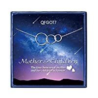 OFGOT7 Mother Daughter Son Necklace - Sterling Silver 3 Interlocking Circles Infinity Necklaces for Women, Mothers Day Family Birthday Gift for Mom Jewelry,Silver Necklace for Women [並行輸入品]