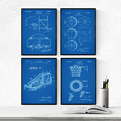 AZUL - Pack de 4 láminas con PATENTES de BALONCESTO. Set de posters con inventos y patentes antiguas. Elije el color que más te guste. . Nacnic
