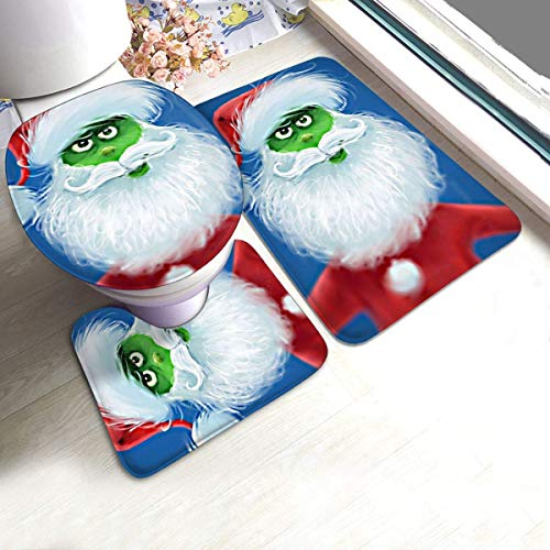 XiaLianNai-shop Christmas Santa Claus Grinch Bath Mat 3 Piece Set Soft Absorbent Anti-Slip Pads and Carpet Bath Mat Set, Bath Anti-Skid Pads + Toilet Lid Cover + Contour Pads Bathroom Carpet Sets