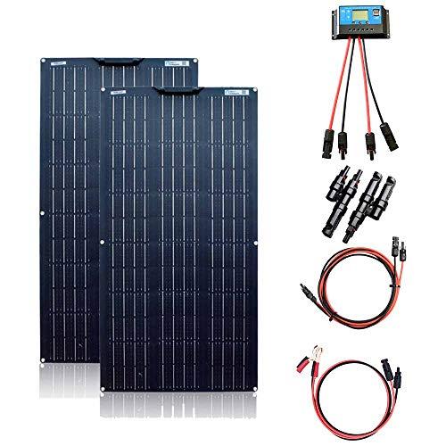 XINPUGUANG Kit de Panel Solar de 200 W 2 Unidades, 100 W, 18 V, módulo Solar monocristalino Flexible para Autocaravana, Barco, Tienda, Coche, Remolque, 12 V, Carga de batería