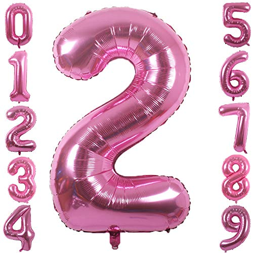 PartyMart Pink Foil Balloons Number 2, 40 inch