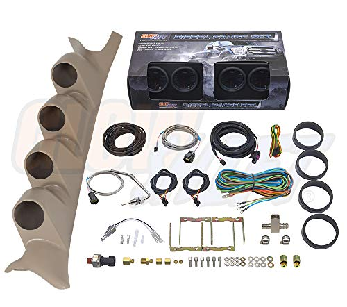 GlowShift Diesel Gauge Package for 1999-2007 Ford Super Duty F-250 F-350 Power Stroke - Tinted 7 Color 60 PSI Boost, 1500 F EGT, Transmission Temp & 100 PSI Fuel Pressure Gauges - Tan Quad Pillar Pod