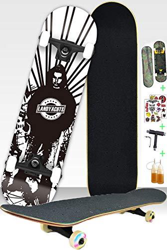 SJNSJN Skateboard Profi Komplett Standard Skateboard Deck 31 x 8 Zoll mit Tool Rucksack Aufkleber für Jugendliche und Erwachsene Geburtstagsgeschenk, ABEC-9 Kugellager,A