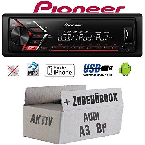 Autoradio Radio Pioneer MVH-S110UI - | MP3 | USB | Android | iPhone Einbauzubehör - Einbauset für Audi A3 8P AKTIV - JUST SOUND best choice for caraudio