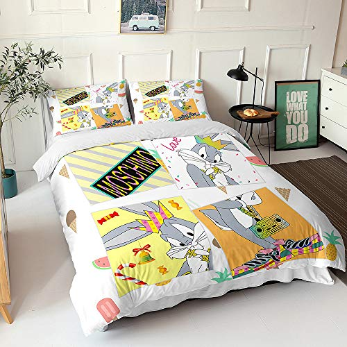 Meiju Duvet Cover Set for Boys Girls Teens Adults - 3D Anime Gray Rabbit Print, 3pcs Microfiber Bedding Set Double Single King Size Quilt Covers Pillowcases (Bugs Bunny-8,Single-135x200cm)