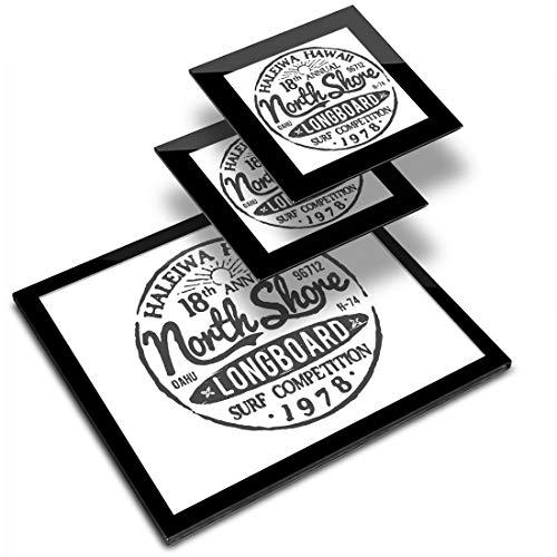 Destination Vinyl ltd Glass Placemat 20x25 cm & 2x Coaster 10x10 cm - BW - Hawaii North Shore Longboard Surf Workplace/Table Mat/Dining Mats/Wipeable/Waterproof #40217