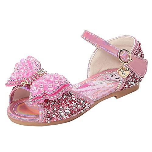 YOSICIL Verano Niñas Sandalias Zapatos de Princesa Elsa de Tacón Alto Zapatilla de Ballet Disfraz de Elsa Frozen Danza Boda Carnaval Cumpleaños Regalo(EU 23-36)