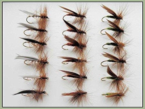 Angelköder Trockenfliegen 18 Stück Forellenangeln Fliegen, Olivgrün, Silber und Braun, Haken Größe 10