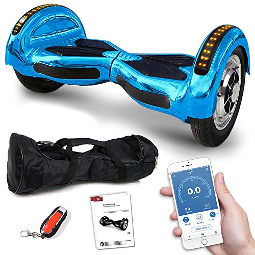 Viron Balance Scooter 800 Watt Crossrover mit App Funktion, 10 Zoll Bereifung, Bluetooth Lautsprecher, Kinder Sicherheitsmodus, Elektro Self Balance E-Scooter GPX-03 SUV (BlauChrome)