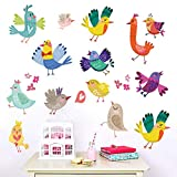 Adesivo da parete Uccello colorato Cartone animato Vendita rapida Bastone Pittura Camera da letto Divano Sfondo Carta da parati 60 * 50 cm