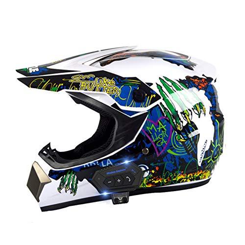 JJIIEE ECE Certified Bluetooth Motocross Helmet,Full Face MTB Helmet Set with Goggles Mask Gloves,for Downhill MX Quad Bike Enduro Racing Dirt Bike,E,S