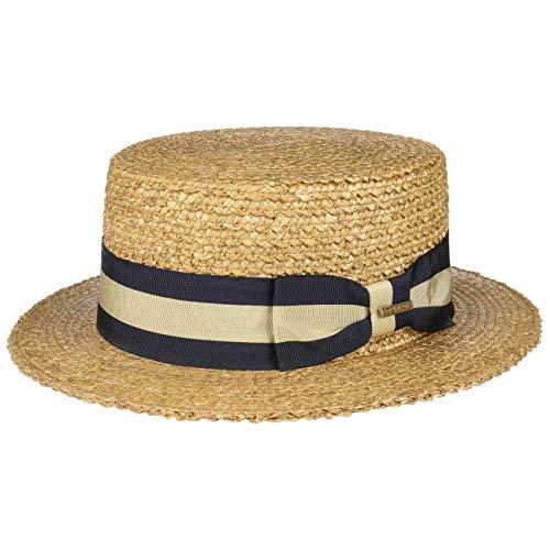 Stetson Sombrero Canotier Vintage Wheat Boater Mujer/Hombre - de Verano Sol Marinero con Banda Grosgrain Primavera/Verano - XXL (62-63 cm) Natural