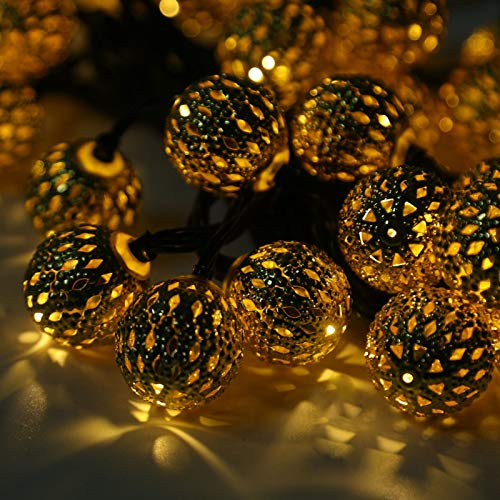 Queiting 30LED Iron Ball Light Moroccan Solar Garden String Light Hanging Lantern Fairy Fairy Party Light Fairy Light Solar Garden Light Waterproof String Light For Party Christmas Decoration Warm