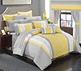 Chic Home 24 Piece Danielle Complete Pin Tuck Embroidery Color Block Bedding, Queen, Yellow,CS5280-AN