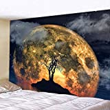 WERT Tela de Fondo de Tapiz para Colgar en la Pared de la Familia del mar con impresión 3D para decoración de Dormitorio y Sala de Estar A3 130x150cm