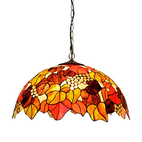 Luz de Techo Tiffany Araña de Estilo Tiffany 5 0cm Tiffany Style Marrón UVA Comedor Comedor Bar de Dormitorio lámpara Colgante Vidrio Colgante luz