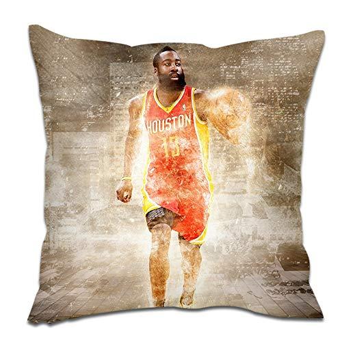 NBA Decorativo Cojines, Cajas Cojín Cuadrado for sofá Cama Silla del Coche Banco Oficina Cubierta Bar, James Harden (Size : 45×45cm)