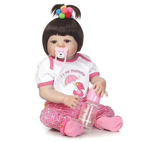 GAOFQ Silicona Completa Reborn Baby Doll Girl 55cm 22inch Juguetes Realista Princesa recién Nacida Niña pequeña Bebés Muñeca Regalo de cumpleaños Lindo Regalo de baño Juguete