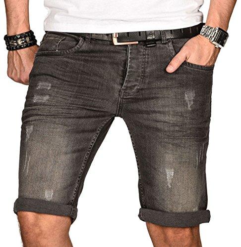 A. Salvarini Herren Designer Jeans Short Kurze Hose Slim Sommer Shorts Bermuda, Grau Washed, W36
