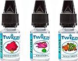 3 x 10ml Twizzy® Sticky Fun Aroma Bundle   Zuckerwatte, Kaugummi, Tutti Frutti   Aroma für Shakes, Backen, Cocktails, Eis   Aroma für Dampf Liquid und E-Shishas   Ohne Nikotin 0,0mg   Flav Drops