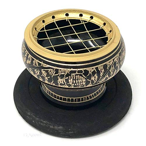 Large Brass Screen Charcoal Incense Burner 2 Inches Tall Home Decor Gift Spiritual Meditation