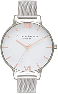 Olivia Burton White Dial Mesh Watch in Silver