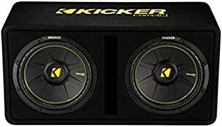 Kicker Dual 12-Inch 1200 Watt 2 Ohm Vented Loaded Subwoofer Enclosure, 44DCWC122,Black,31.88 x 13.2 x 17.25 x 16 inches